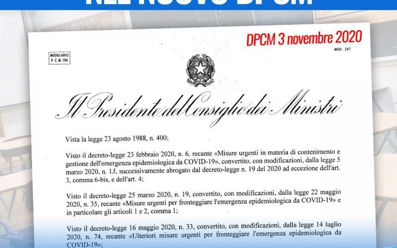 DPCM DEL 3 NOVEMBRE E SCUOLA: IL DETTAGLIO DELLE MISURE